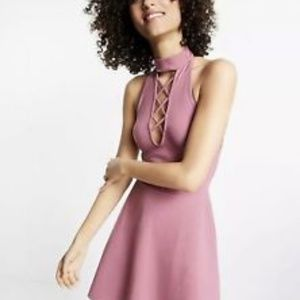 Express: Lace-Up Choker Neck Skater Dress